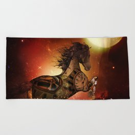 Steampunk, awesome steampunk horse Beach Towel