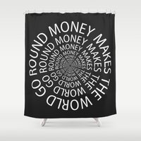 money Shower Curtains featuring Money by Text Guy