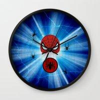 spider man Wall Clocks featuring Spider Man by haroulita