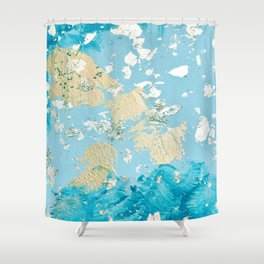 Gold Abstract Modern Painting Shower Curtain
