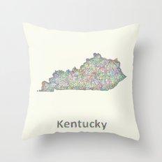 Kentucky map Throw Pillow