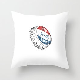 Cool Patriotic American USA Flag Colors Red White Brews Throw Pillow