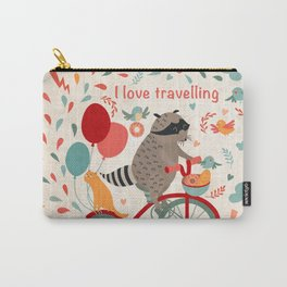 Cute raccoon on a bicycle with a cat, birds, balloons and drops. 'i love travel' text. Trip, journey Carry-All Pouch