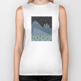 Starry Night Sky over Snowy Mountain and Forest Biker Tank
