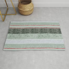 Textured Stripes in sage and red Rug