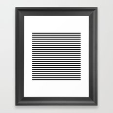 White Black Stripe Minimalist Framed Art Print