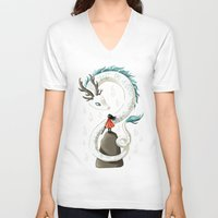 spirit V-neck T-shirts featuring Dragon Spirit by Freeminds