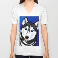 husky V-neck T-shirts featuring Happy Husky by MrsKristenArtworks