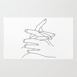 Hands line drawing illustration - Jade Rug