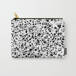 Black and White Dalmatian Pattern Dots Terrazzo Print Carry-All Pouch