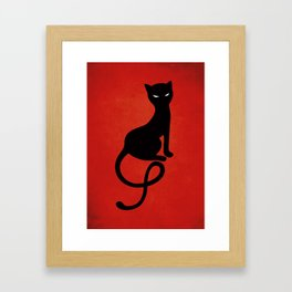 Red Gracious Evil Black Cat Framed Art Print