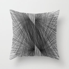 Black & White Mid Century Modern Radiating Lines Geometric Abstract Throw Pillow
