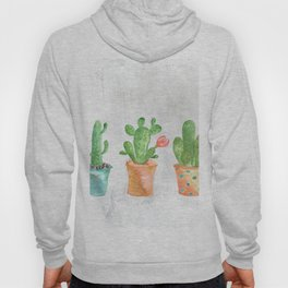 Three Green Cacti Watercolor White Hoody