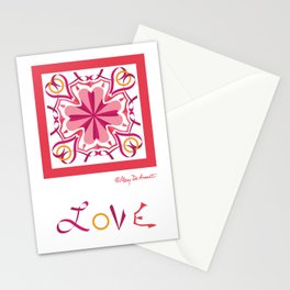 """Lyrical Love Mandala with """"LOVE"""" - Pink Gold Stationery Cards"""