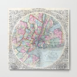 Antique New York City Map Metal Print