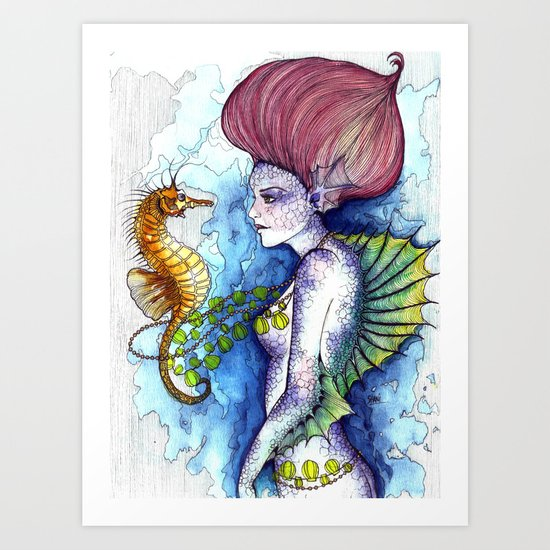 the seahorse's friend Art Print