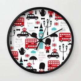 London icons illustration pattern print Wall Clock