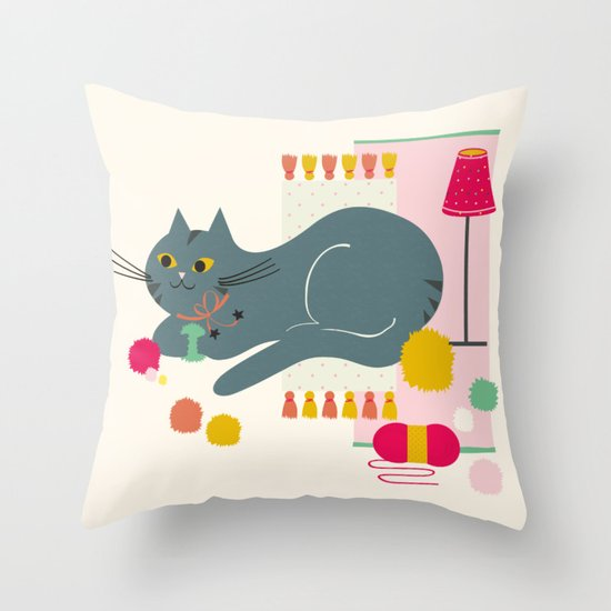 Cosy Cat Throw Pillow