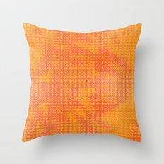 Orange Spirograph Throw Pillow