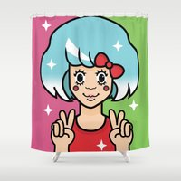 pie Shower Curtains featuring Cutie Pie by Danielle Waterworth