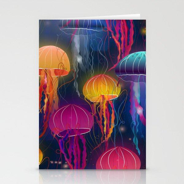 Rainbow Jellyfish Stationery Cards