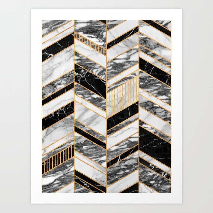 Abstract Chevron Pattern - Black and White Marble Kunstdrucke