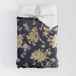 Elegant vintage navy blue faux gold flowers Duvet Cover