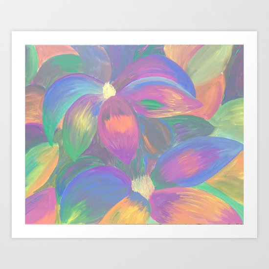 Neon Flower Pattern Art Print