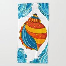 Sea #5 - Orange Shell Beach Towel