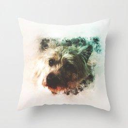 Cairn Terrier Digital Watercolor Painting Throw Pillow