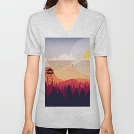 Vector Art Landscape with Fire Lookout Tower Unisex V-Neck