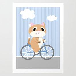 Mobile series bicycle cat Art Print