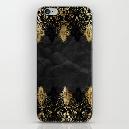 Simply elegance - Gold and black ornamental lace on black paper iPhone Skin