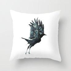 Crow Taking Off Throw Pillow