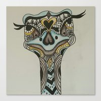 ostrich Canvas Prints featuring ostrich by loomy