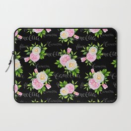 Watercolor blush pink white black camellia floral typography Laptop Sleeve