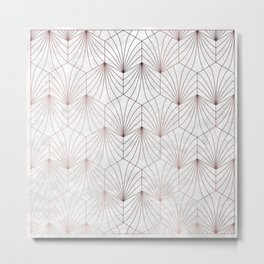 Hexagonal Leaves of Rose Gold on White Marble Metal Print