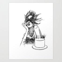 Birthday girl fashion illustration Art Print
