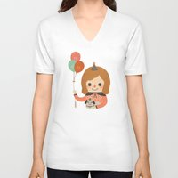 ballon V-neck T-shirts featuring Hold The Happy Ballon by Minifanfan