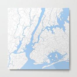 Blue New York Map Metal Print