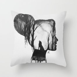 All in her Head in black and white Throw Pillow