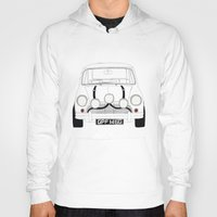 mini cooper Hoodies featuring The Italian Job White Mini Cooper by Martin Lucas