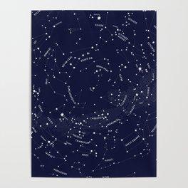 Constellation Map - Indigo Poster
