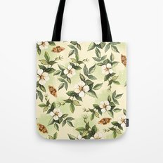 Delicate pattern with flowers and butterflies hips Tote Bag