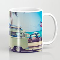 vw bus Mugs featuring VW Bus Beach Vacation by Limitless Design