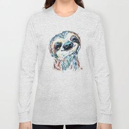 Smiling sloth baby colorful watercolor painting Long Sleeve T-shirt