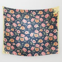 vintage flowers Wall Tapestries featuring Vintage flowers by MJ'designs - Marosée Créations