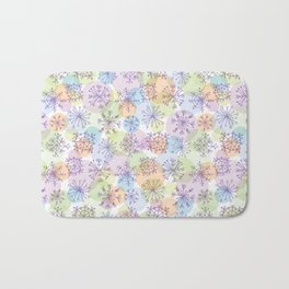 Merry Christmas pattern with purple snowflakes on light background Bath Mat
