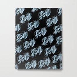 Palm Leaves Pattern #6 #SkyBlue #Black #decor #art #society6 Metal Print