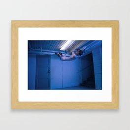 Animal crawling on the pipes Framed Art Print